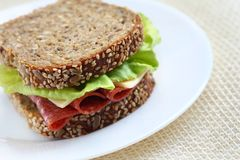 Sandwich with brown bread. Sandwich made of healthy brown bread with seeds lettuce italian salami and cheese Royalty Free Stock Image