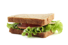 Sandwich with brown bread  on white background Stock Images