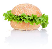 Sandwich bun with green salad leaf isolated on white Royalty Free Stock Photo