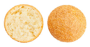 Sandwich bun. Sliced sandwich bun top view stock images