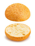 Sandwich bun. Sliced sandwich bun on white background stock image