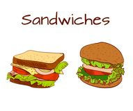 Sandwich and burger colored sketch. VECTOR colorful illustration. Sandwich and burger colored drawings. VECTOR colorful illustration painting Royalty Free Stock Photo