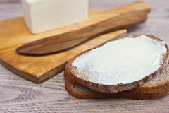 Sandwich with butter knife and butter. Closeup Stock Photos