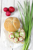 Sandwich with butter and radish. Sandwich with butter, radish and chives Stock Photos