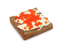 Sandwich with butter and salmon roe, isolated Royalty Free Stock Photography