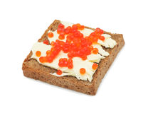Sandwich with butter and salmon roe, isolated Stock Photos