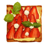 Sandwich with butter and strawberry Stock Photography