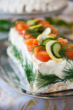 Sandwich cake. With salmon, lemon and cucumber Stock Images