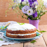 Sandwich cake with cream cheese Stock Photo