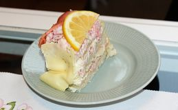 A piece of sandwich cake with salmon and shrimp royalty free stock photo