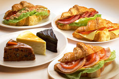 Sandwich and cakes royalty free stock photo