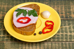 Sandwich with carbonade Stock Photo