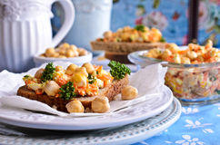 Sandwich with carrots, cheese and chickpeas Royalty Free Stock Photography