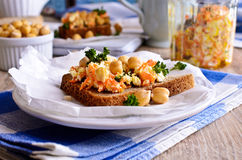 Sandwich with carrots, cheese and chickpeas Royalty Free Stock Image