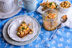 Sandwich with carrots, cheese and chickpeas Stock Photography