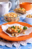 Sandwich with carrots, cheese and chickpeas Royalty Free Stock Photo