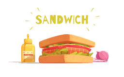 Sandwich Cartoon Design. With toasts salmon tomato salad sliced onion and mustard on white background vector illustration Royalty Free Stock Photos
