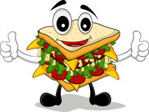 Sandwich cartoon thumb up Royalty Free Stock Photo