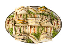 Sandwich Catering Platter. Sandwich party platter, catering style, 40 triangles of assorted sandwiches on a silver platter Royalty Free Stock Images