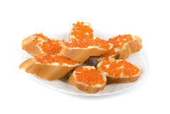 Sandwich caviar Royalty Free Stock Photography