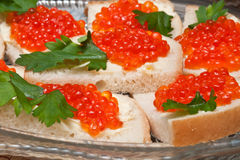 Sandwich with caviar Stock Image