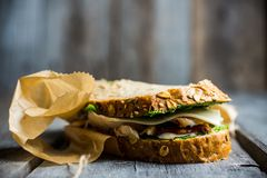 Sandwich with cereal bread, chicken, pesto and cheese on the rustic wooden background. Selective focus. Shallow depth of field Royalty Free Stock Photography