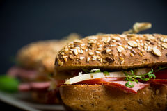 Sandwich with cereal bread, ham, tomatoes and cress on the dark background Stock Image