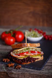 Sandwich with cereals bread with lettuce,ham, prosciutto Royalty Free Stock Photography