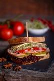 Sandwich with cereals bread with lettuce,ham, prosciutto Stock Image