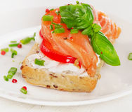 Sandwich with cereals bread and salmon on  white plate. Stock Images