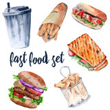 Sandwich chaud, hamburger, pommes de terre frites, boisson, hot-dog D'isolement sur le fond blanc Photo stock