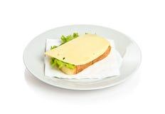 Sandwich with cheese. Open sandwich with cheese and lettuce Stock Photos
