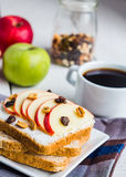 Sandwich with cheese, apple and dried fruit, bright breakfast Stock Images