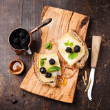 Sandwich with cheese and blackberry Stock Images