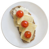 Sandwich With Cheese And Cherry Tomato On White Plate Isolated Royalty Free Stock Photo