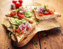 Sandwich with cheese, cherry tomatoes, cucumber, radish and fresh chives on wooden board Royalty Free Stock Photos