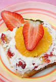 Sandwich with cheese and fruit Stock Photography