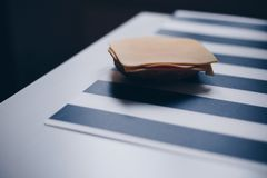 Sandwich with cheese and ham. Sandwich with cheese and ham on the black & white table Stock Image