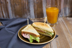 Sandwich with cheese, ham and lettuce Stock Photography