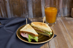 Sandwich with cheese, ham and lettuce Royalty Free Stock Photo