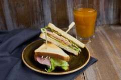 Sandwich with cheese, ham and lettuce Stock Images