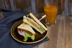 Sandwich with cheese, ham and lettuce Stock Image
