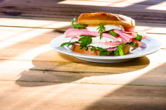 Sandwich with cheese and ham on morning light Royalty Free Stock Images
