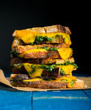 Sandwich with cheese and leek Royalty Free Stock Photography