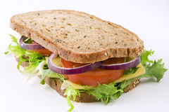 Sandwich with cheese, lettuce, tomato and onion Stock Photography