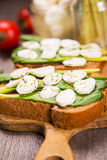 Sandwich with cheese. Sandwich with mozzarella,ramson and tomatoes in studio Stock Image