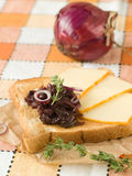 Sandwich with cheese and onions candy Stock Photo