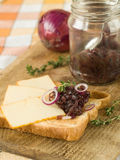 Sandwich with cheese and onions candy Stock Image