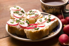 Sandwich with cheese, radish and chive. Healthy Eating royalty free stock photo