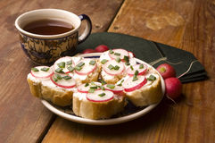 Sandwich with cheese, radish and chive Royalty Free Stock Image